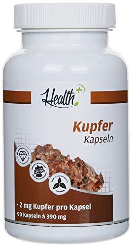 Health+ Kupfer - 90 Kapseln reines Kupfergluconat,...