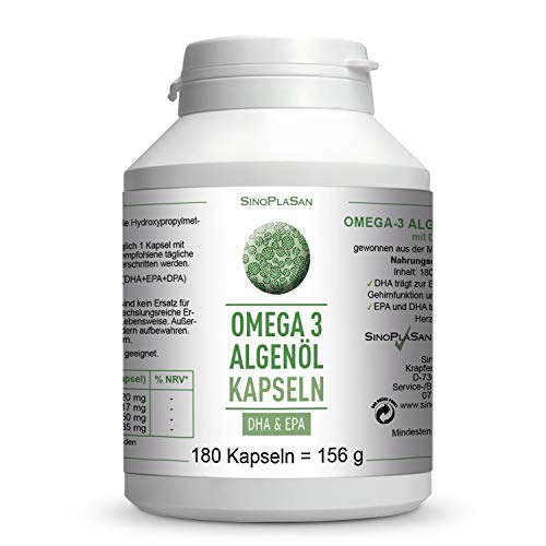 Omega-3 Algenöl    180 Kapseln    je 417mg DHA &...