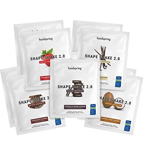 foodspring Shape Shake 2.0, 10er Probierpaket,...