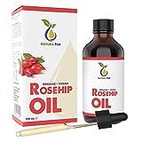 NATURA PUR Bio Hagebuttenöl 120ml (Wildrosenöl) - 100% kaltgepresst, unraffiniert, vegan - für Gesicht, Körper, Haare, Haut, Hände, Kopfhaut