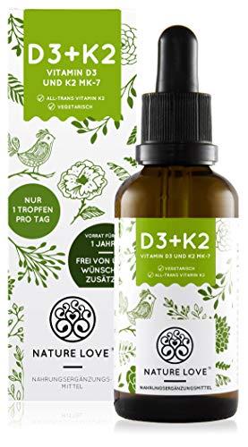 NATURE LOVE® Vitamin D3 + K2 (50ml flüssig) -...