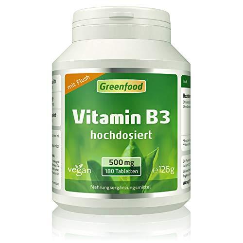 Greenfood Vitamin B3 Niacin (mit Flush!), 500 mg,...
