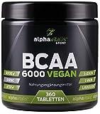 BCAA 6000 vegan - 360 Tabletten á 1000 mg reine BCAAs - ohne Magnesium Stearat - glutenfrei - laktosefrei - essentielle Aminosäuren für Sportler