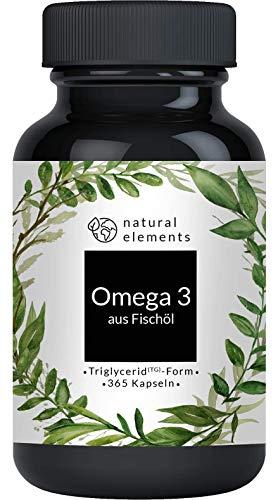 Omega 3 (365 Kapseln) - 1000mg Fischöl pro Kapsel...