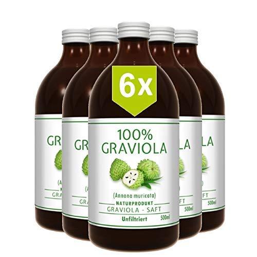 6 x 100% Graviola Frucht-Saft -unfiltriert &...