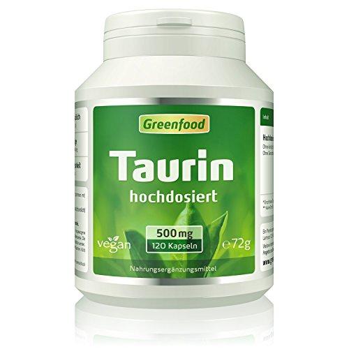 Taurin, 500 mg, hochdosiert, 120 Kapseln, vegan...
