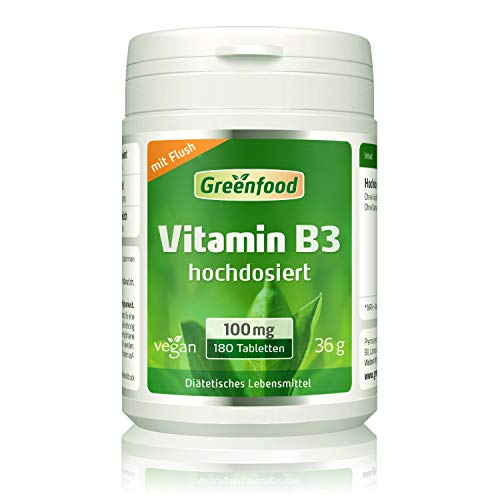Vitamin B3 (Niacin), 100 mg, hochdosiert, 180...