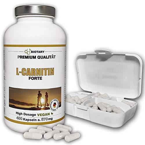 L-CARNITIN, 400 Kapseln, INKLUSIVE PILLENBOX, für...