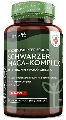 Schwarzer-Maca-Komplex 5000mg- 180 vegane Kapseln...