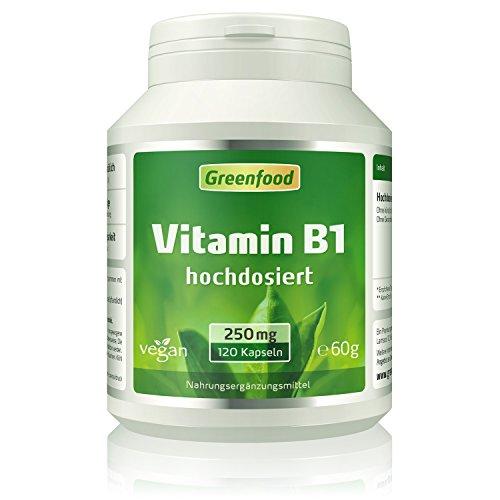 Greenfood Vitamin B1, 250 mg, hochdosiert, 120...