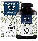 NATURE LOVE® MSM 2000mg mit Vitamin C - 365 laborgeprüfte Tabletten - Kompakteres MSM Pulver als bei Kapseln - u.a. für Gelenke* - Ohne Zusätze, hochdosiert, vegan, in Deutschland produziert