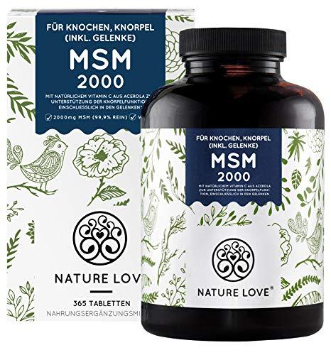 NATURE LOVE® MSM 2000mg mit Vitamin C - 365...
