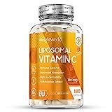 Premium Liposomale Vitamin C Kapseln - 180 Stk. hochdosiert mit 1000mg reinem Vit C am Tag - 100% Natürliche und hochwertige Liposomal Vitamine für Jung & Alt - Vegan mit Hagebutte
