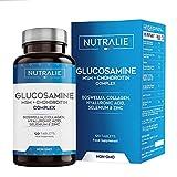 Glucosamin mit Chondroitin Hochdosiert mit MSM und Kollagen | Erhaltung Normaler Knochen mit Glucosamin, Chondroitin, MSM, Kollagen, Hyaluronsäure, Boswellia, Selen, Zink | 120 Tabletten Nutralie
