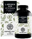 NATURE LOVE® L-Arginin Base mit Citrullin - Einführungspreis - Premium: pflanzliches Arginin in BASE Form mit 99,7+% Reinheit - 365 Kapseln - Hochdosiert, vegan, hergestellt in Deutschland