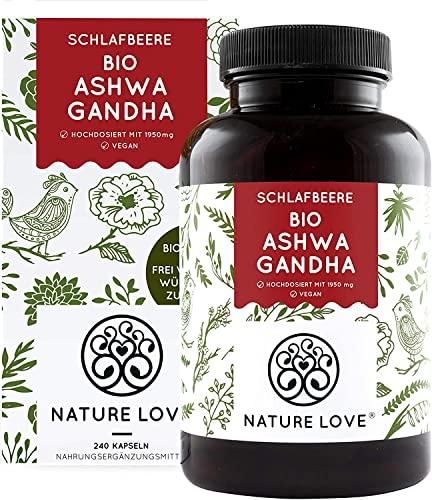 NATURE LOVE® Bio Ashwagandha - Hochdosiert mit...