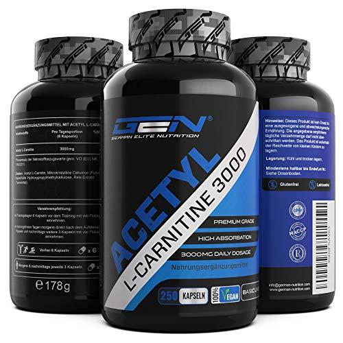 Acetyl L-Carnitin 3000 mit 250 Kapseln - 3000 mg...