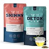 Premium Tee Set zum Abnehmen - Detox Tee & Skinny Tee - 28 Tage Entgiftung und Entschlackung - Ohne Zusatzstoffe - 100% Natürlich & Vegan - Mit Brennessel, Löwenzahn & Grüner Tee - 56 Teebeutel