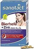 sanotact Bierhefe + Zink • 60 Tabletten Haut Haare Nägel Vegan • Haar Vitamine mit Bierhefe, Zink, Biotin, B12, B6 • Hochwirksame Intensiv-Schönheitsformel