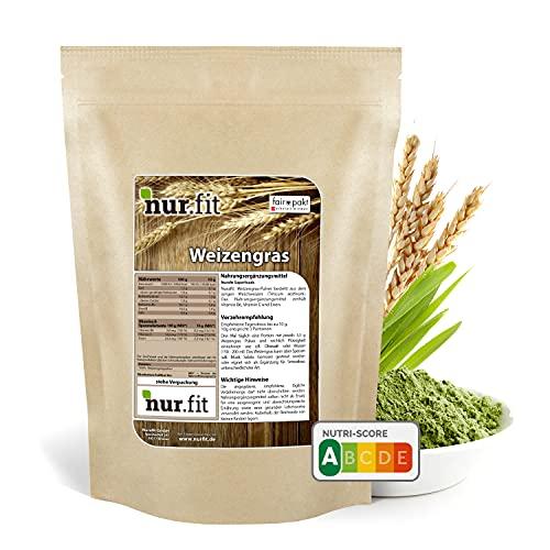 nur.fit Weizengras Pulver 500g - reines Weizengras...
