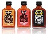 Crazy Bastard Sauce - 3er Set - Extreme Scharfe Chilisauce mit der Schärfste Chilis der Welt - Ghost Pepper, Trinidad Scorpion, und Carolina Reaper! (€5,63/100ml)