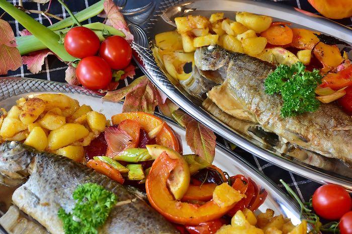 Gemüse und Fisch